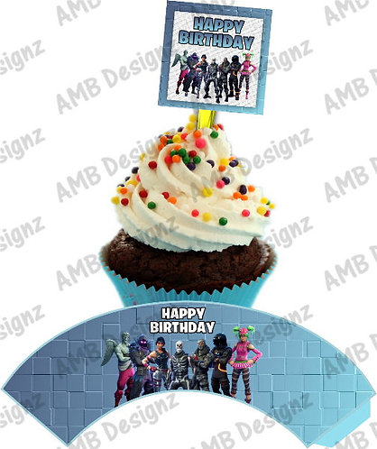 Fortnite Cupcake wrap and Topper set  - INSTANT DOWNLOAD