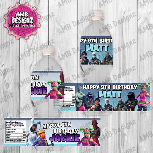 Fortnite Water Bottle Wrap Party Supplies