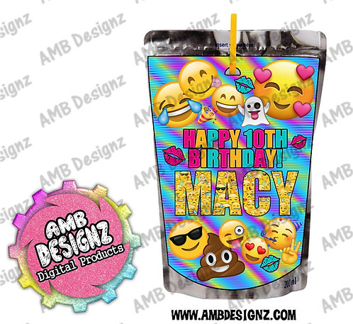 Emoji Capri-Sun Pouch Label - Emoji Party Supplies