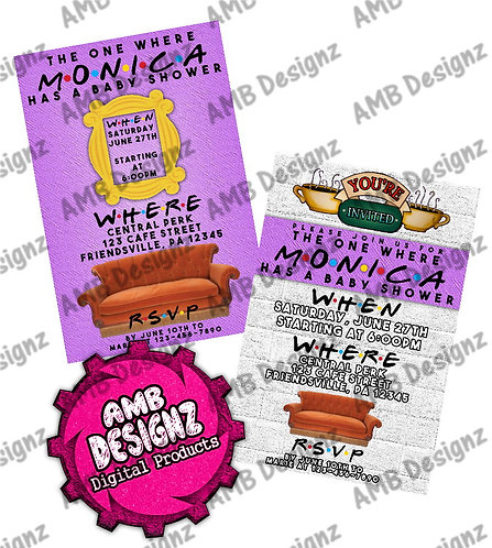 Friends themed Shower Invitations - Friends themed Shower Party Supplies