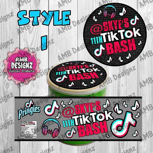 Tik Tok Pringles Can Labels - Tik Tok Party Supplies