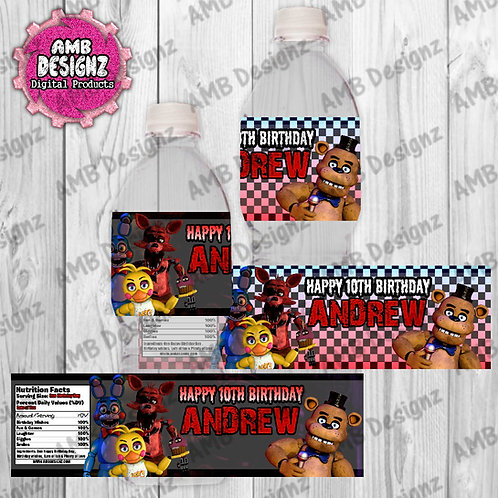 Five Nights at Freddy's (FNAF) Water Bottle Wrapper - FNAF Party Supplies