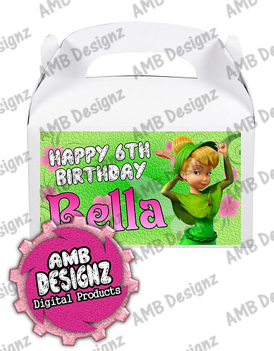 Tinkerbell Fairies Gable Box/Treat Box label - Tinkerbell party Supplies