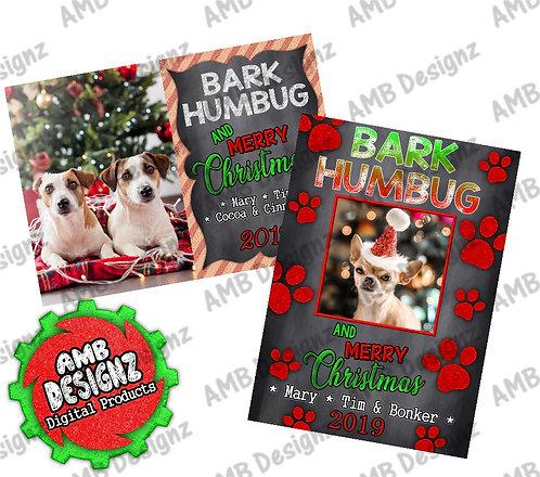 Bark Humbug Photo Christmas Greeting Card - Pet Christmas Card
