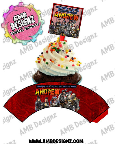 Apex Legends Personalized Cupcake Topper and Cupcake wrapper set