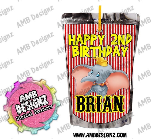 Dumbo Capri-Sun Juice Pouch Label - Dumbo Party Supplies