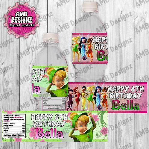 Tinkerbell Fairies Water Bottle Wrapper - Tinkerbell Fairies Party Supplies