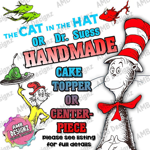 Cat in the hat Dr. Suess Cake Topper Centerpiece
