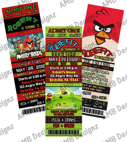 Angry Birds Ticket Style Custom Digital Invitation