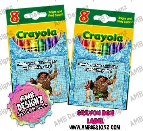 Disney's Moana Crayon Box Label - Moana Party Supplies