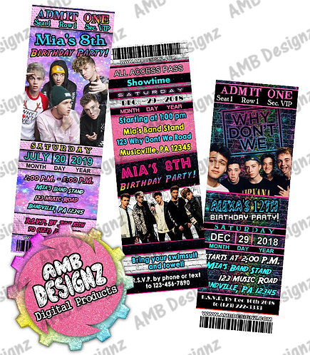 Why Don't We Ticket Invitations - Why Don't We Party Supplies