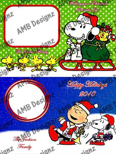 Snoopy Peanuts Christmas Printable Custom Photo Christmas Card