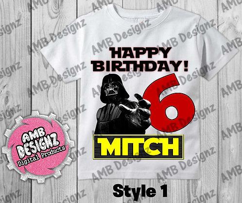 Star Wars T-Shirt Birthday Image - Star Wars Party Supplies
