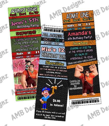 Wreck-it-Ralph Ticket Style Custom Digital Invitation