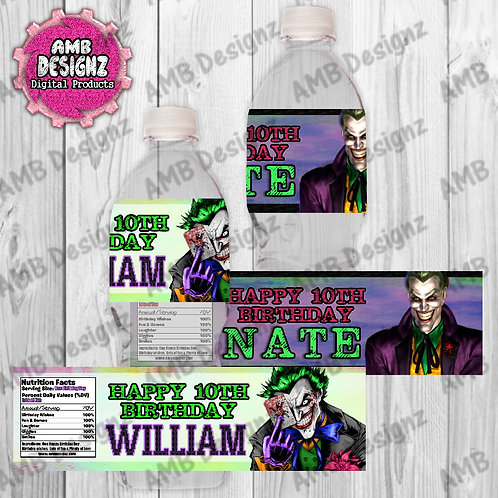 Joker Water Bottle Wrapper - Joker Party Supplies