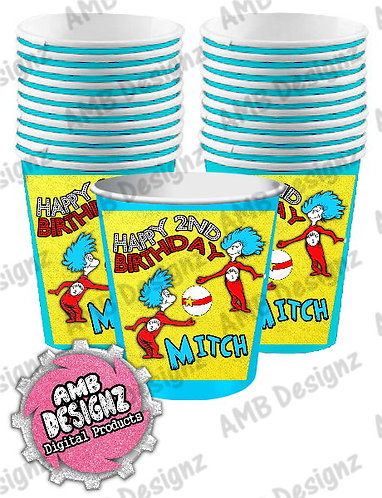 Dr. Seuss Thing 1 Thing 2 Party Cups Party Supplies