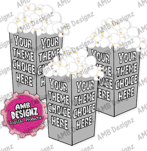Custom Themed Popcorn Box Favor- Custom Party Supplies