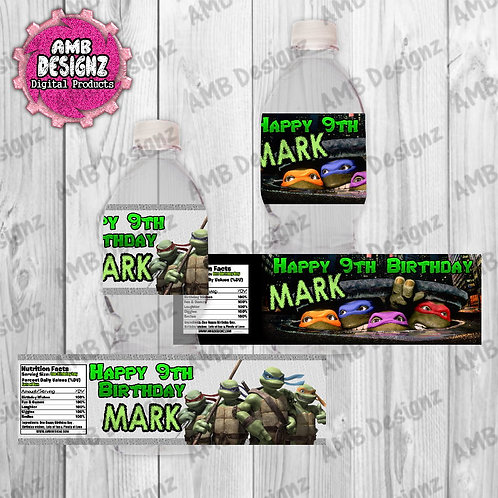 TMNT Water Bottle Wrap Party Supplies