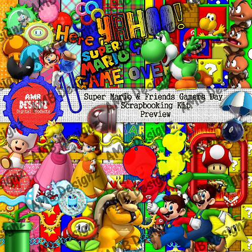 Super Mario Gamers Day Digital Scrapbooking Kit