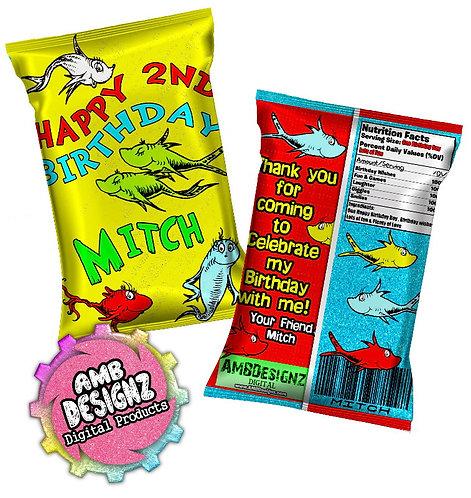 Dr. Seuss 1 Fish 2 Fish Chip Bag Party Favor Party Supplies