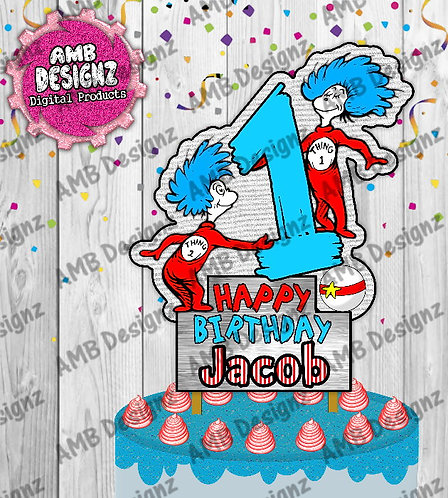 Dr. Seuss Thing 1 and Thing 2 Cake Topper Centerpiece