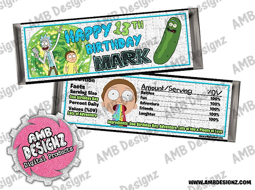 Rick and Morty Candy Bar Wrapper - Rick and Morty Party Supplies