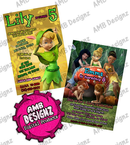 Tinkerbell Disney Fairies Invitations - Tinkerbell Fairies Party Supplies