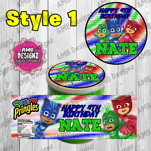 PJ Mask Pringles Can Labels - PJ Mask Party Supplies