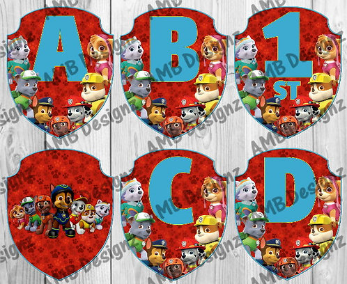 Paw Patrol Birthday Party Pennant Flag Banner - INSTANT DOWNLOAD