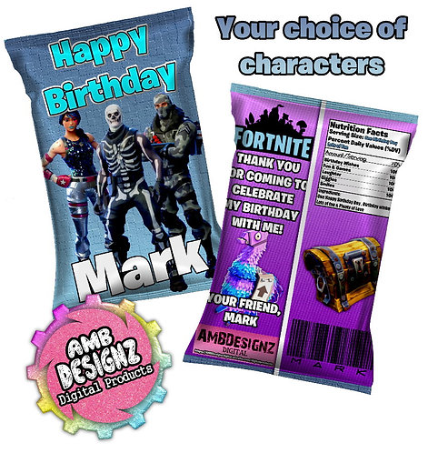 Fortnite Chip Bag Party Favor Fortnite Party Supplies