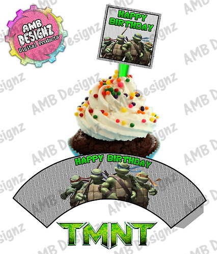 TMNT Cupcake Toppers Cupcake Warps Party Supplies