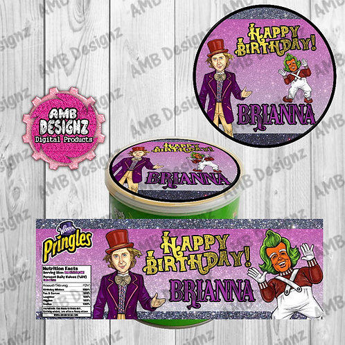 Willy Wonka Pringles Can Labels - Willy Wonka Party Supplies