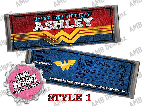Wonder Women Candy Bar Wrapper, Wonder Women Party Supplies