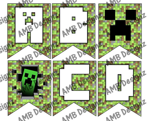 Digital Minecraft Birthday Party Pennant Flag Banner - INSTANT DOWNLOAD