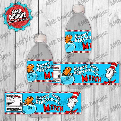 Dr. Seuss The Cat in the Hat Water Bottle Wrap - Dr. Seuss Party Supplie