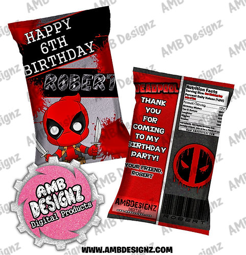 Deadpool Chip Bag Party Favor - Deadpool Party Supplies
