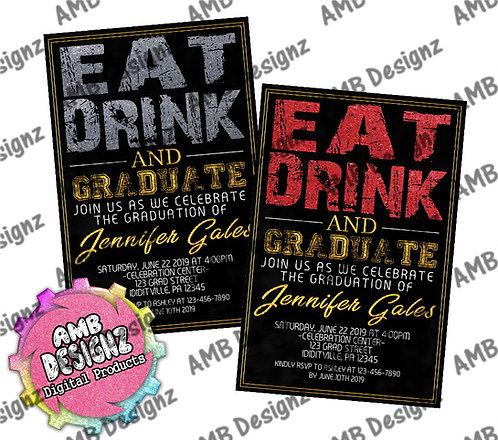 Eat Drink Graduation Invitations - Graduation Party Supplies