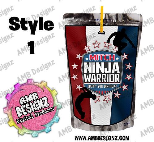 American Ninja Warrior Capri-Sun Pouch Label - American Ninja Party Supplies