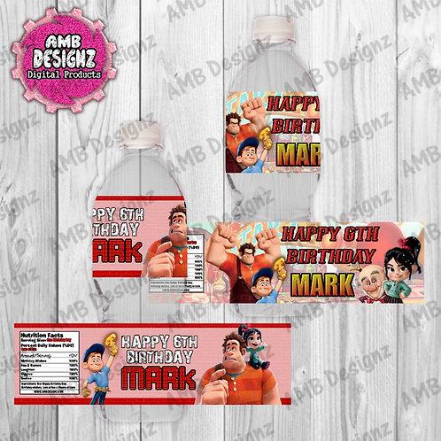 Wreck it Ralph Water Bottle Wrap - Wreck it Ralph Party Supplies