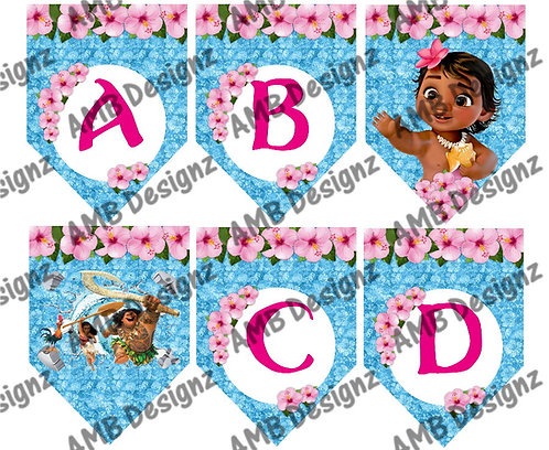 Disney's Moana Birthday Party Pennant Flag Banner - INSTANT DOWNLOAD