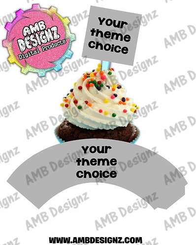 Custom Themed Personalized Cupcake Topper and Cupcake wrapper set