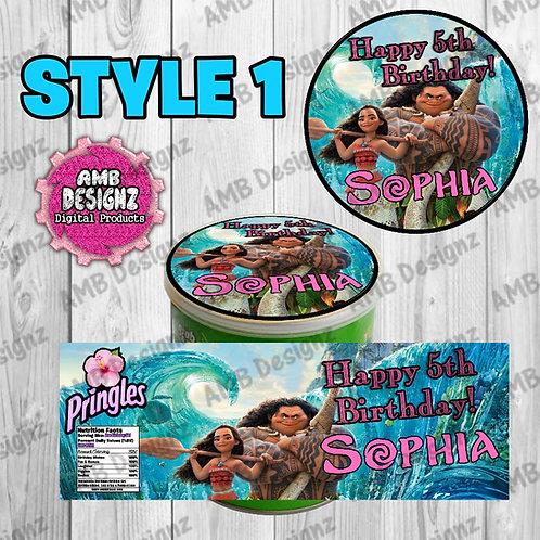 Disney Moana Pringles Can Labels - Disney Moana Party Supplies