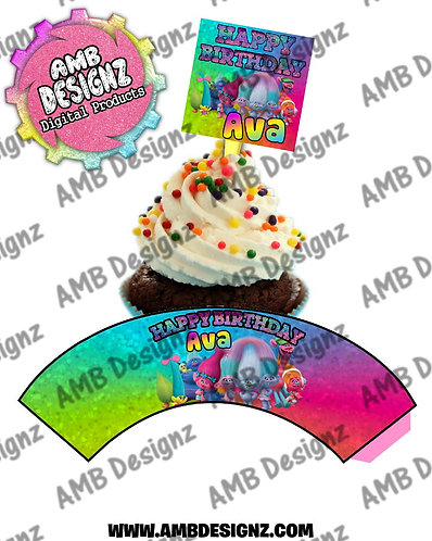 Trolls Personalized Cupcake Topper and Cupcake wrapper set
