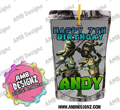 TMNT Capri-Sun Juice Pouch Label - TMNT Party Supplies