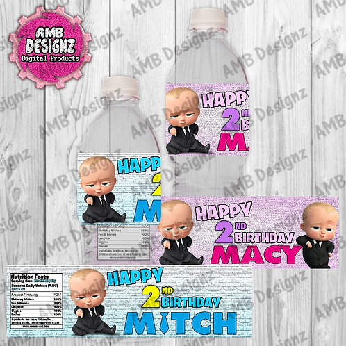 Boss Baby water bottle wrappers - Boss Baby Party Supplies