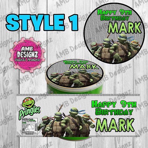 TMNT Pringles Can Labels - TMNT Party Supplies