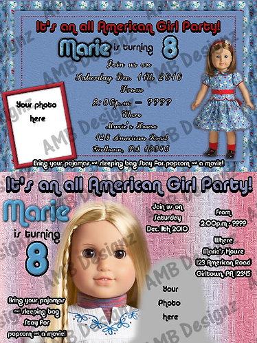 American Girl Custom Digital Invitation