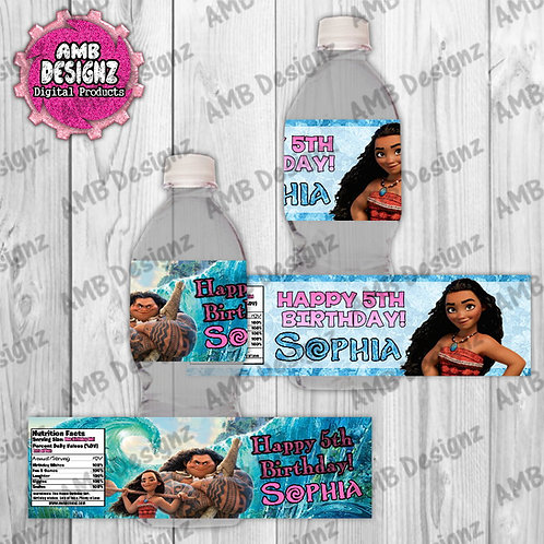 Disney Moana Water Bottle Wrap - Moana Party Supplies