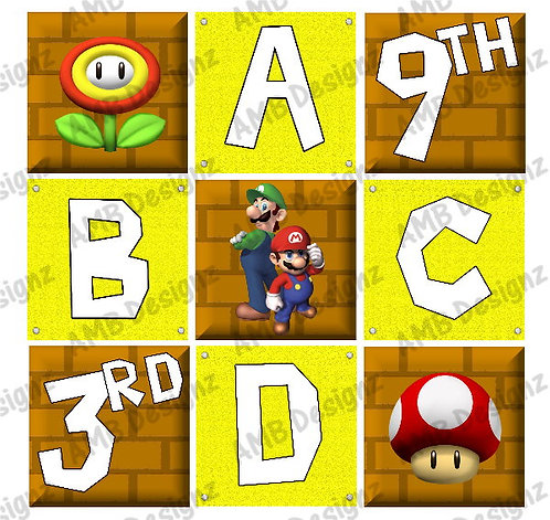 Super Mario and Friends Birthday Party Pennant Flag Banner - INSTANT DOW