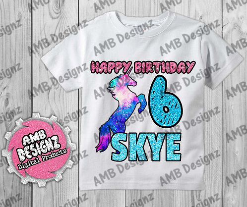 Galaxy Unicorn T-Shirt Birthday Image - Galaxy Unicorn Party Supplies